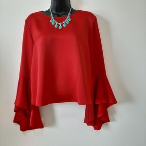NWT Boho Bell Sleeve Loose Fit Top Red Size 6